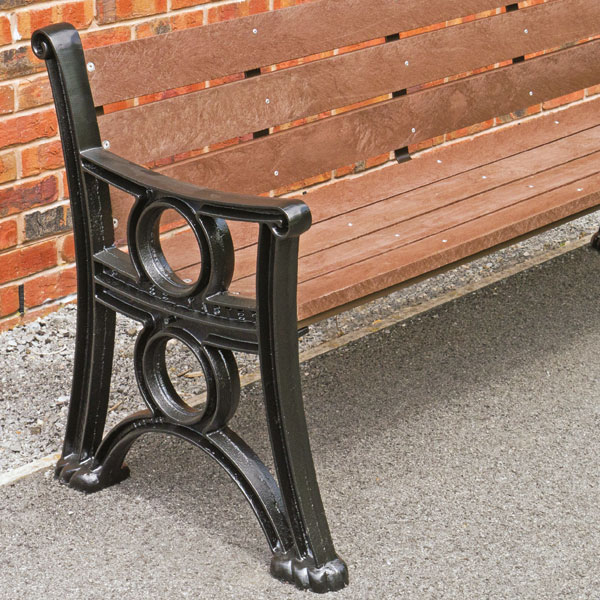Cast iron seats with recycled plastic boards