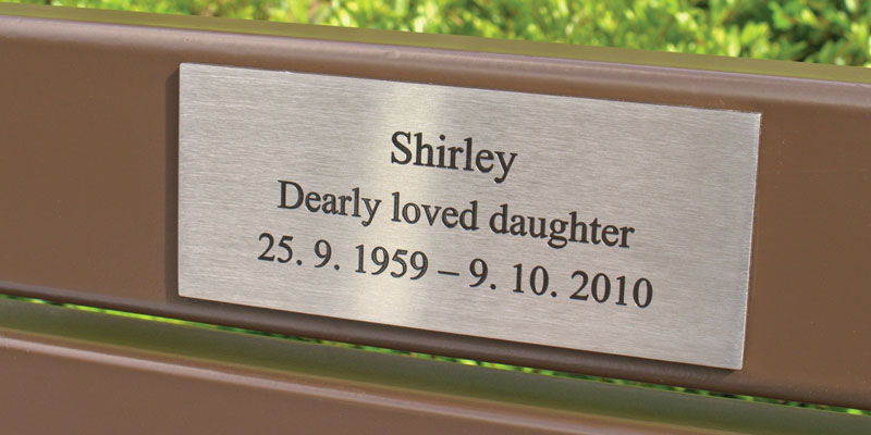 Georgian steel slat seat with stainless steel plaque